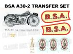 BSA A30-2 1929 to 1930 Transfer Decal Sets (1)